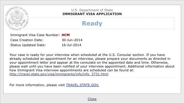 What does it mean READY on CEAC website after receiving case