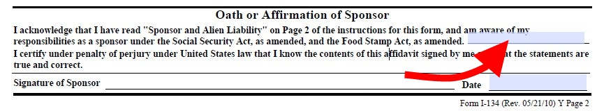Question About Field In I 134 Signature Area Oath Of Affirmation