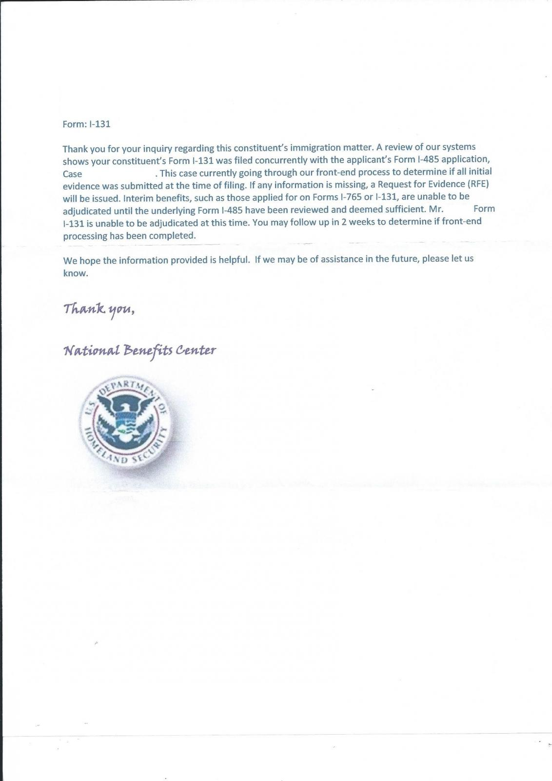 Contacted Congressman Regarding I-131...This is the response from ...