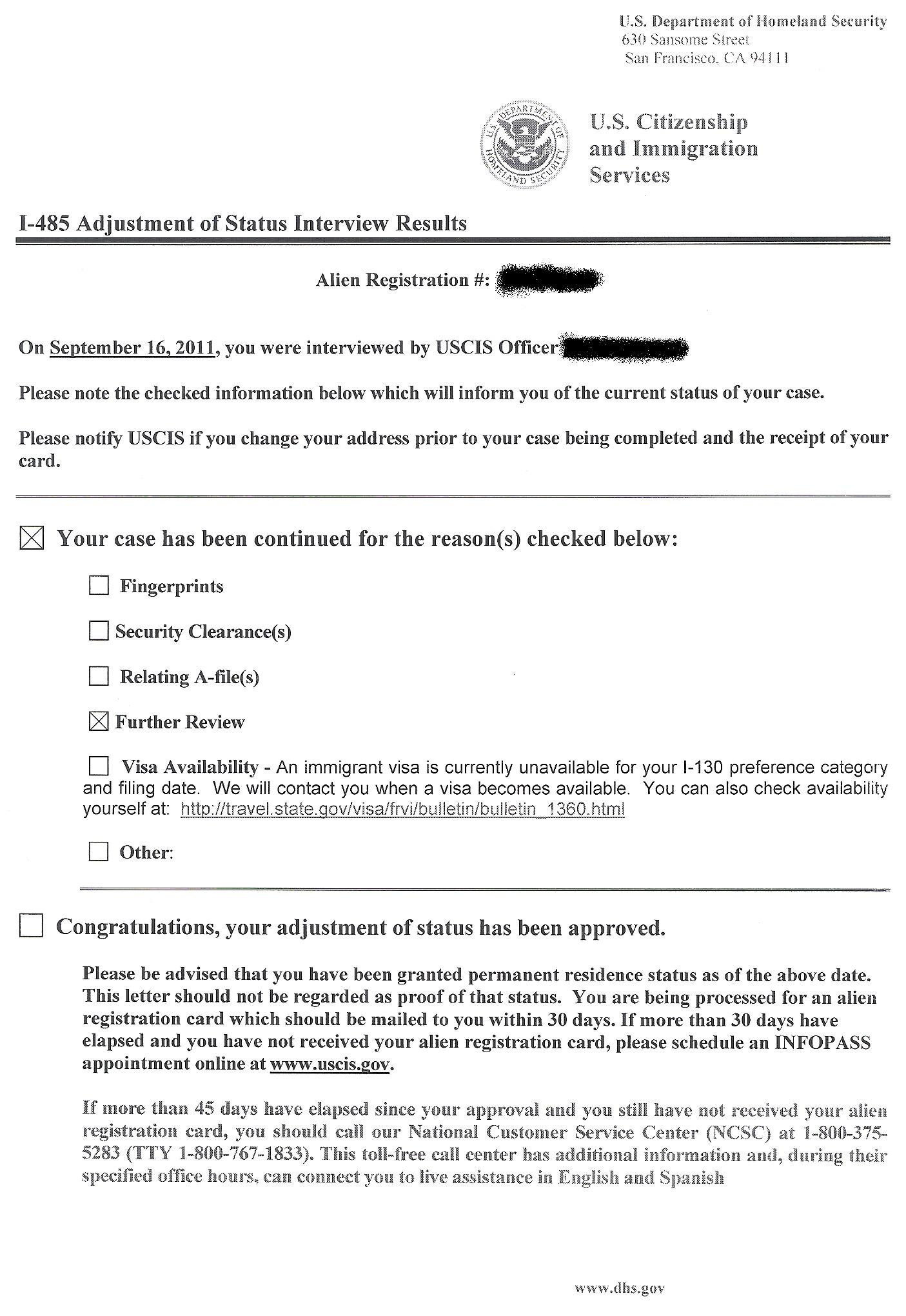 Did we pass our interview?? - Adjustment of Status (Green Card) from