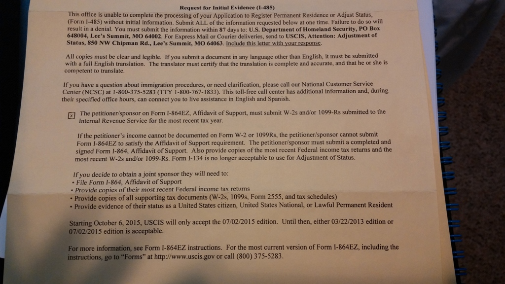 Request for initial evidence (I-485) Help! - Adjustment of Status ...
