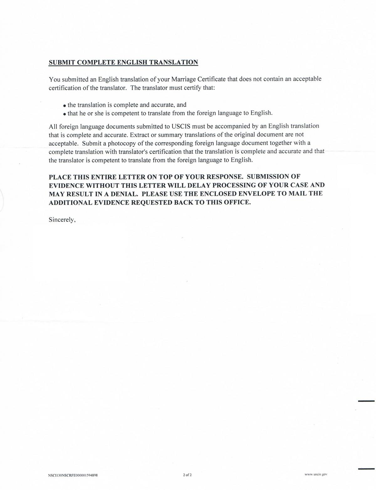 RFE from USCIS about Marriage certificate translator? - IR-1 / CR-1