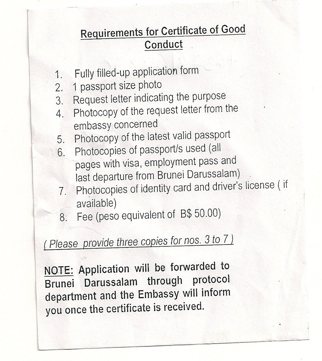 Police Clearance from Brunei - US Embassy and Consulate