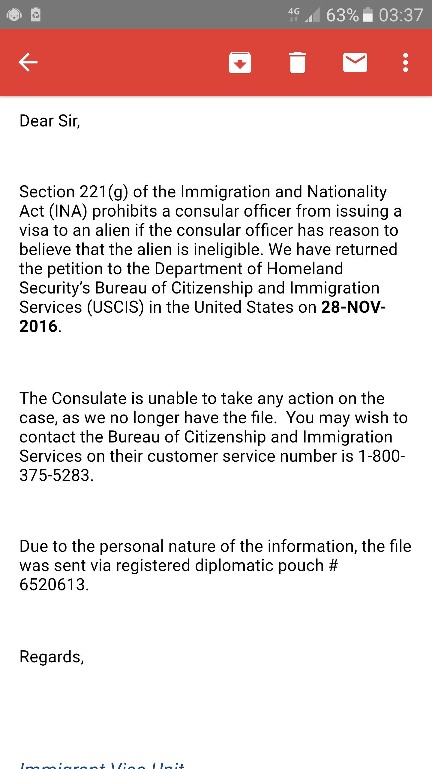 Returned to USCIS (221(g) - IR-1 / CR-1 Spouse Visa Case Filing and
