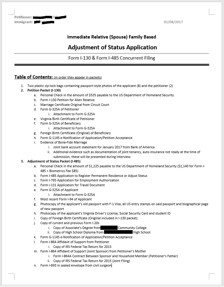 cover letter for adjustment of status application - one final check perhaps a checklist for others