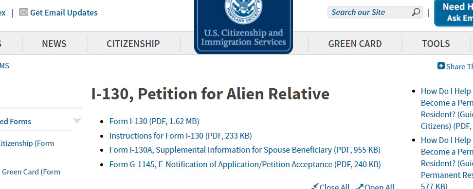 Petition For Alien Spouse Documents Needed List When To Send I