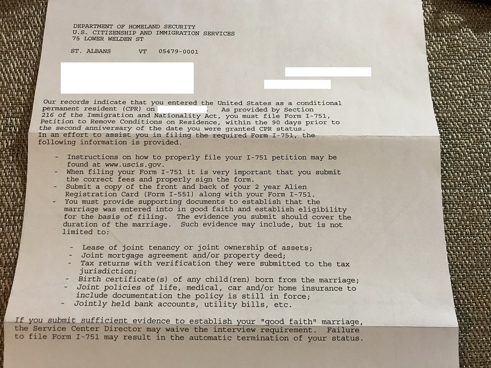 Letter Received From Uscis Removing Conditions On Residency