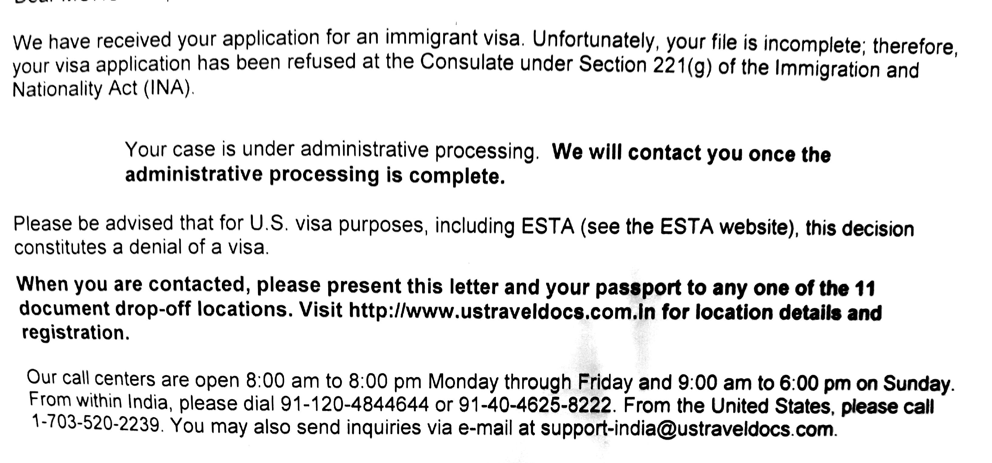 CR1 visa refusal at interview Mumbai - section 221g-Maybe case