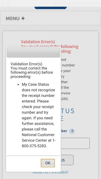 USCIS receipt number invalid - IR-1 / CR-1 Spouse Visa Case Filing