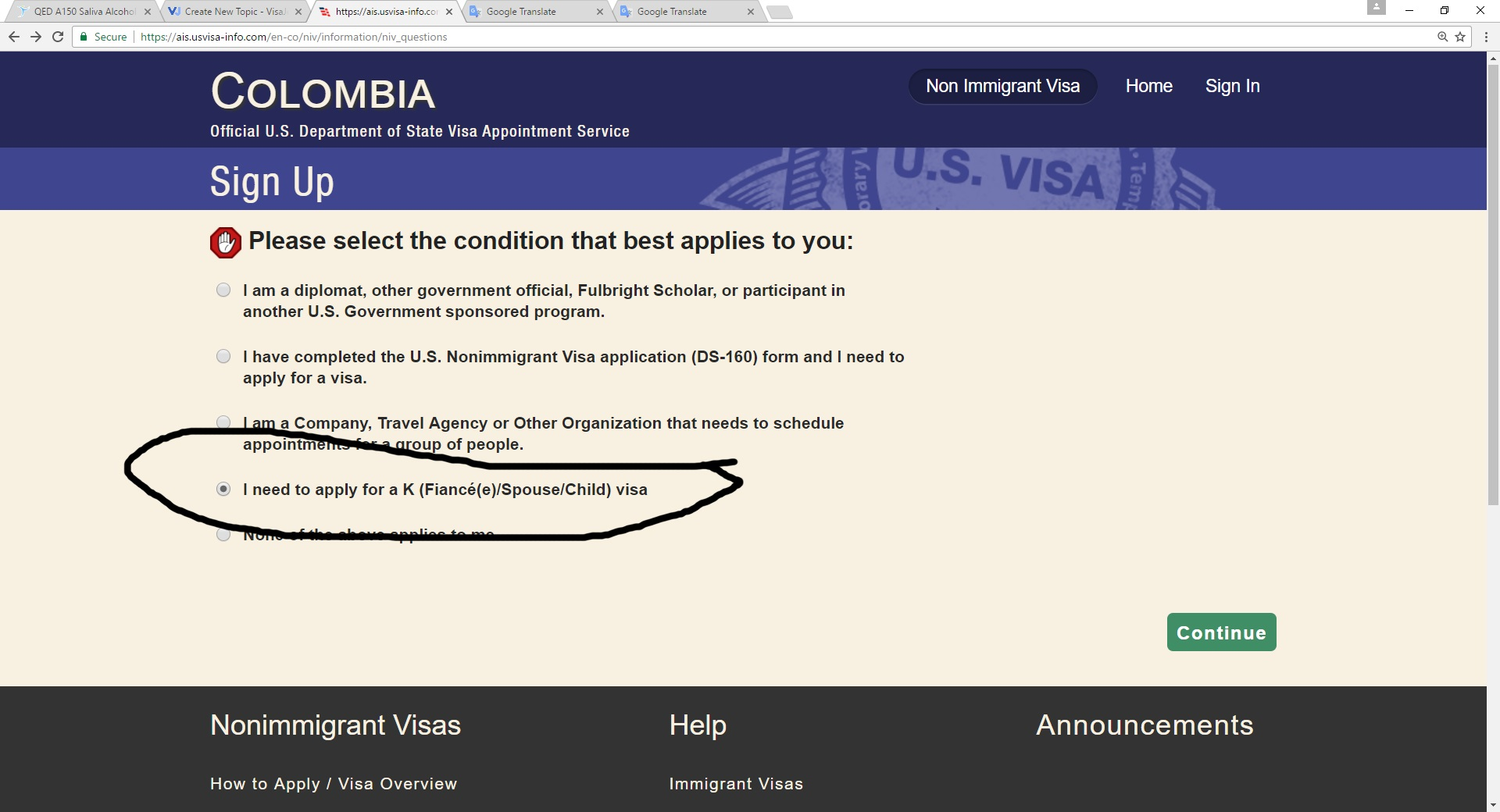 Heads up on Colombia Embassy Website - K-1 Fiance(e) Visa