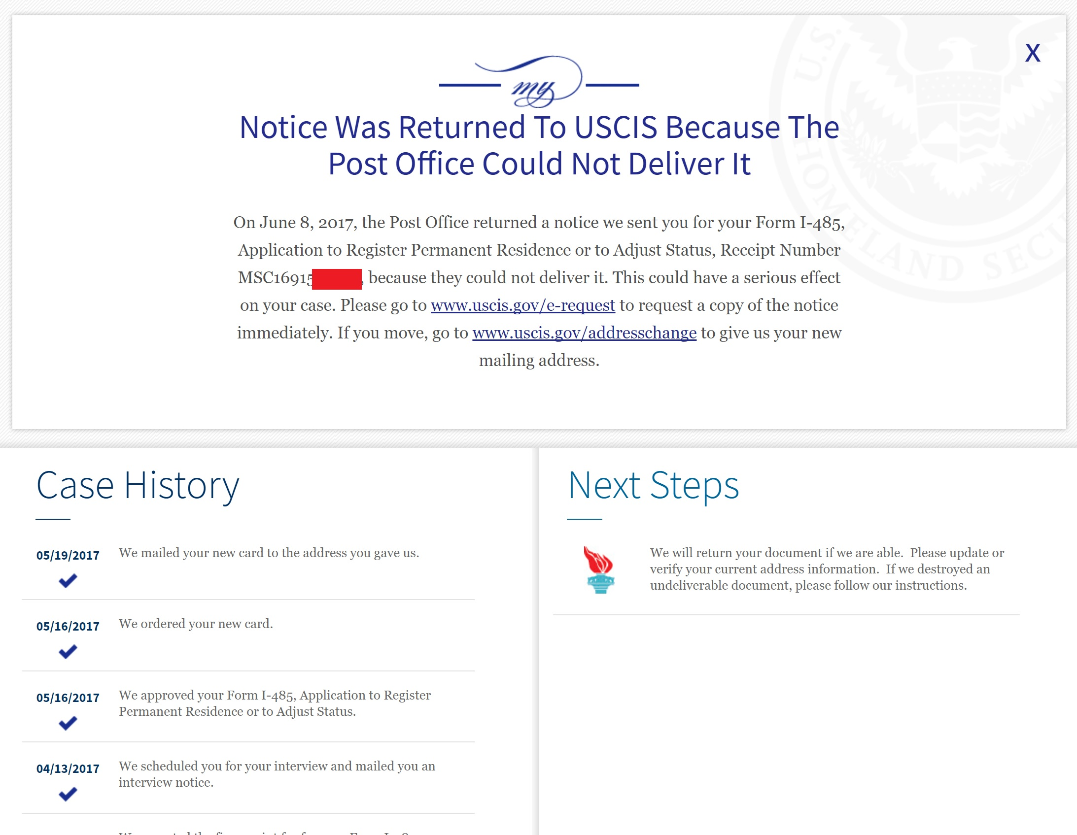 Initial review status after greencard approval returned mail returned noticeg falaconquin