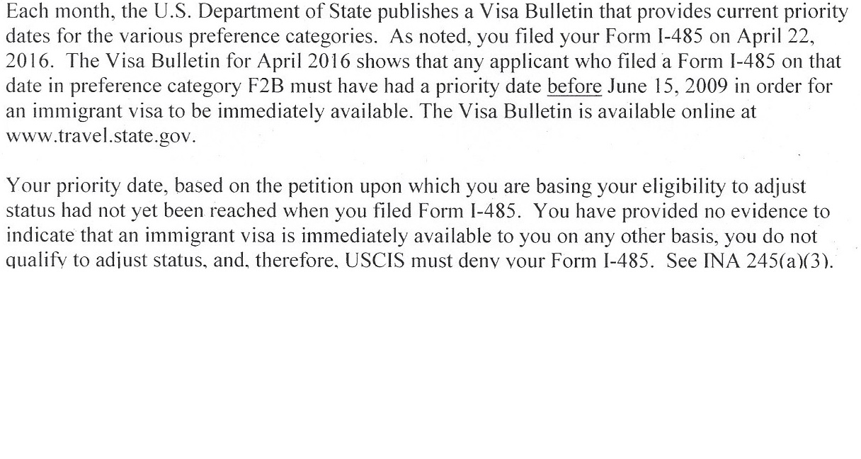 I485 F2b Denied because of priority date - Bringing Family