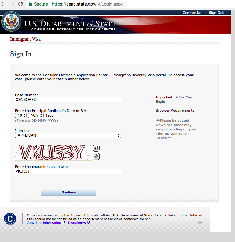 Cant Sign In To Complete Ds 260 Direct Consular Filing Dcf