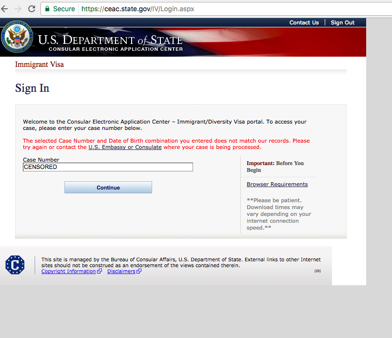 Can't sign in to complete DS-260 - Direct Consular Filing (DCF ...