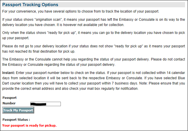 passport status tracking