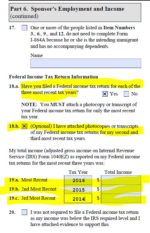 I 864 I 864a No Income Bringing Family Members Of Us Citizens
