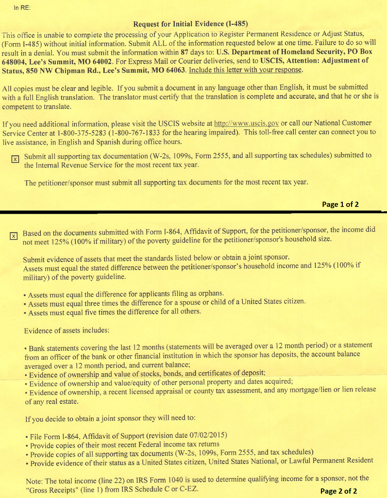 Rfie For I 864 Adjustment Of Status Green Card From K1 And K3