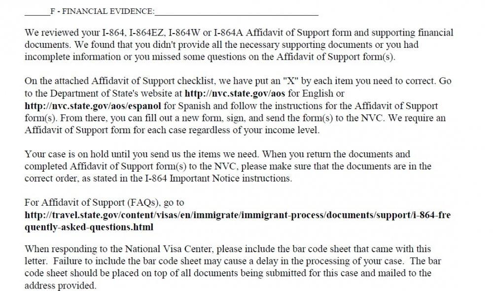 Form I 864 Affidavit Of Support Missing Incorrect Information Ir