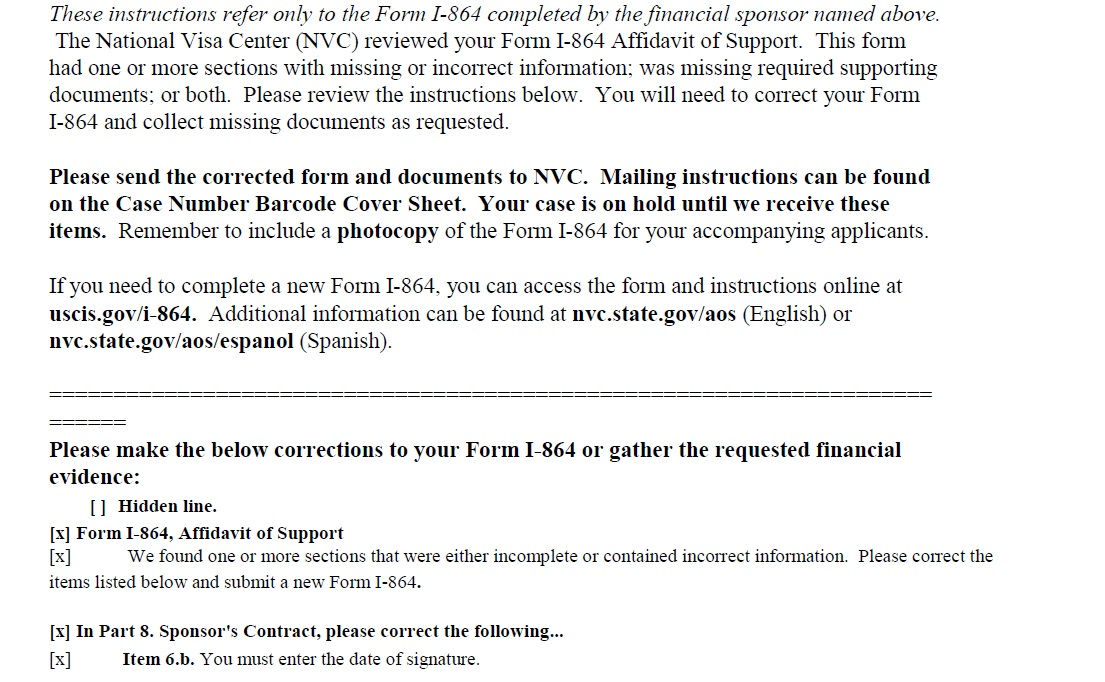 Form I 864 Affidavit Of Support Missing Incorrect Information Ir