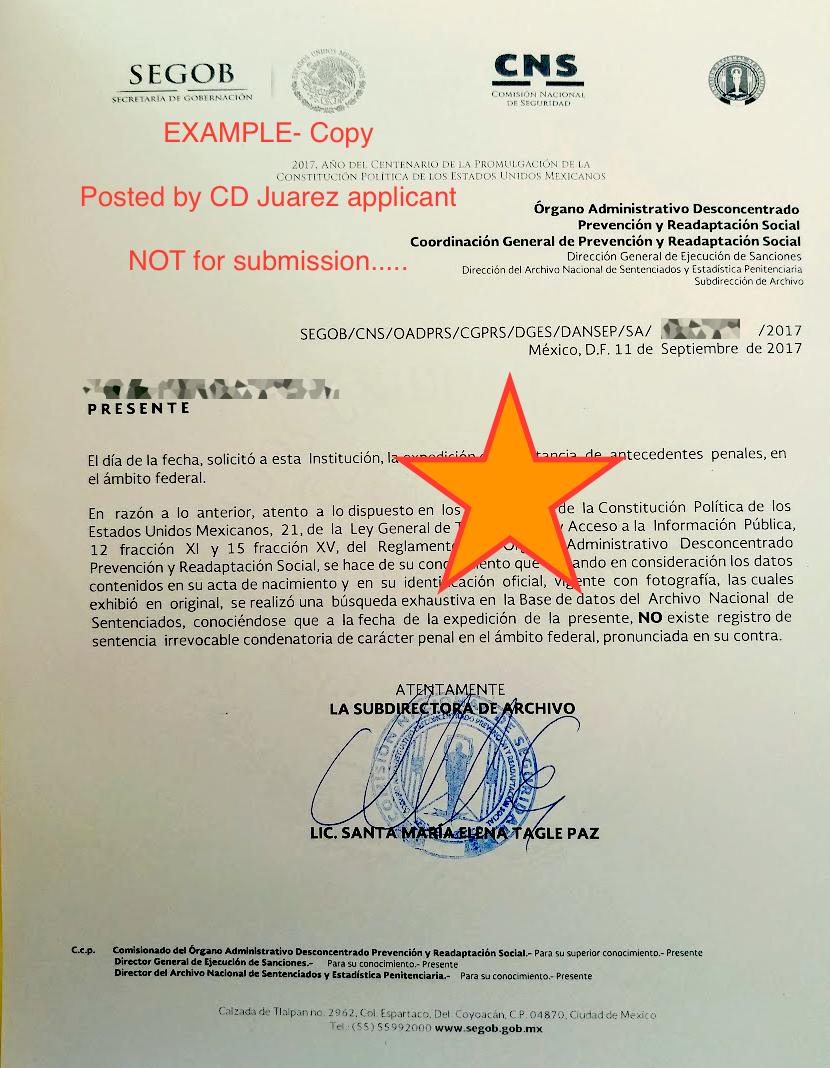 NVC checklist - Police Certificate HELP - Juarez - National Visa