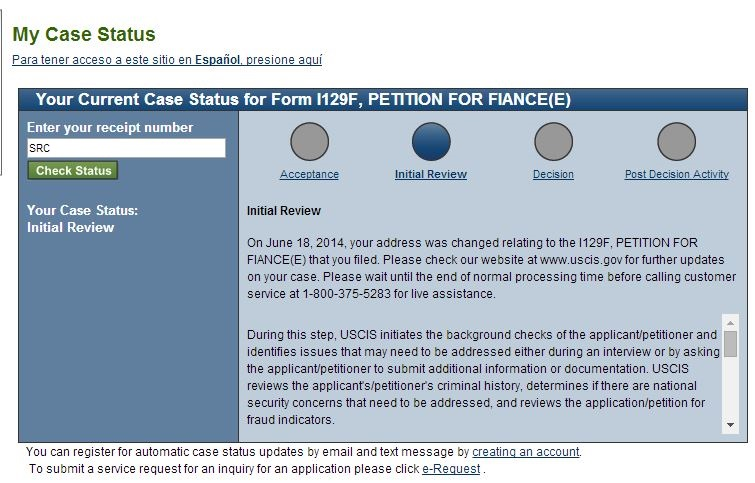 Different USCIS Status' and what they mean - K-1 Fiance(e) Visa Case