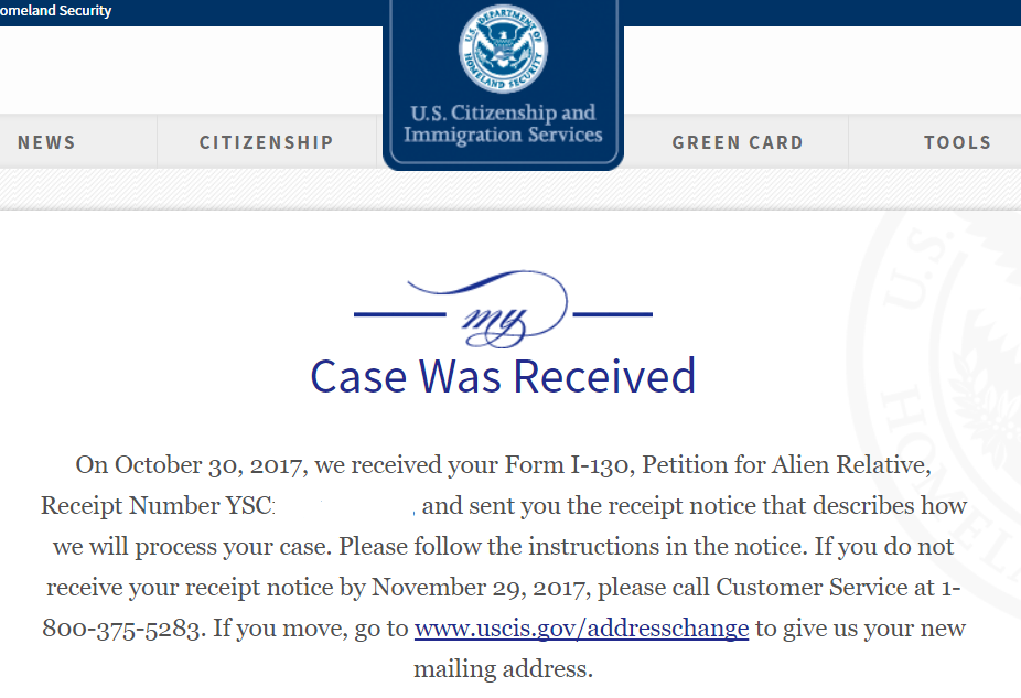 receipt number by text and a letter from uscis   cr
