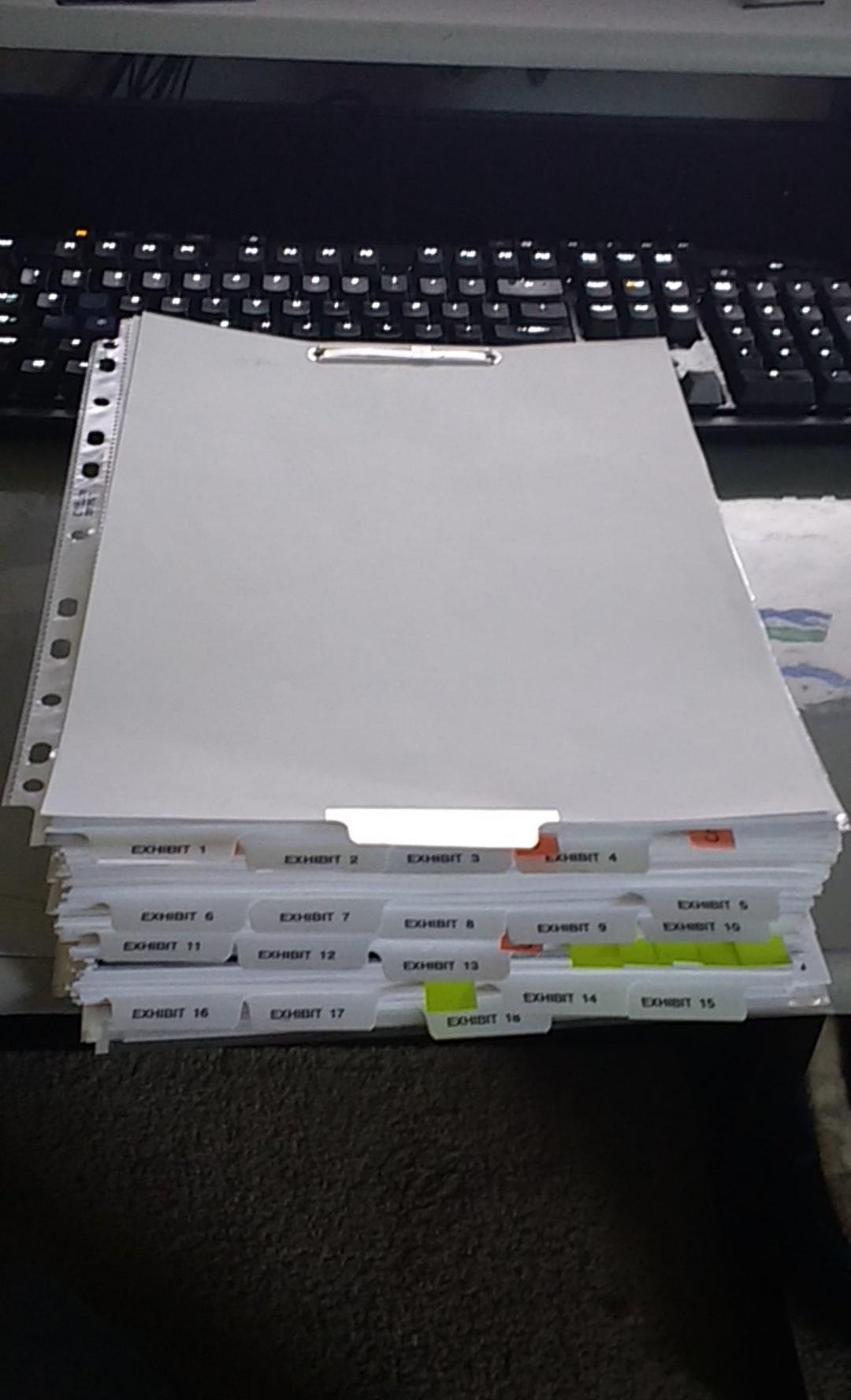 front of folder  binder