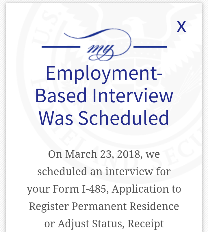 "form i 485 interview was scheduled  Why it says Employment-based Interview""? - Adjustment of ..."