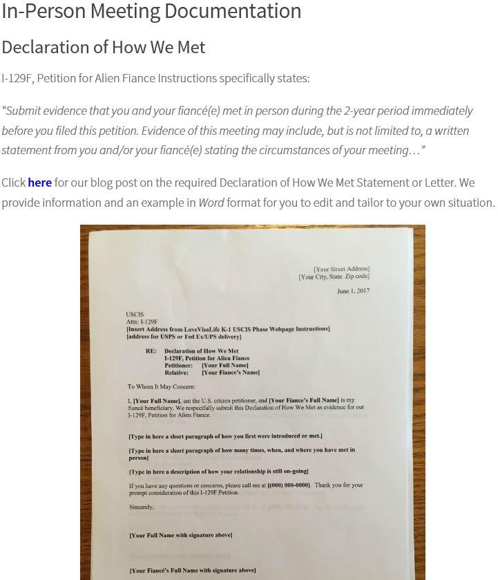 Declariation of HOW WE MET (signatures) - K-1 Fiance(e) Visa