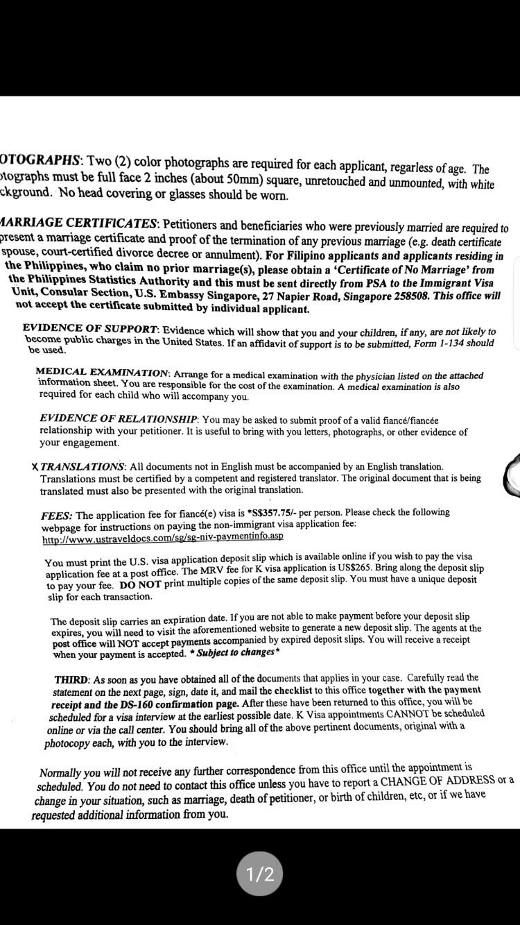 K1 Visa after pay MRV fee - K-1 Fiance(e) Visa Process