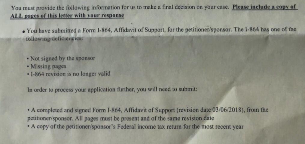 Rfie For I 864 K1 Visa To Green Card Adjustment Of Status Case