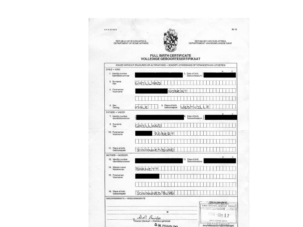 Old South African Birth Certificate K 1 Fiancee Visa Process