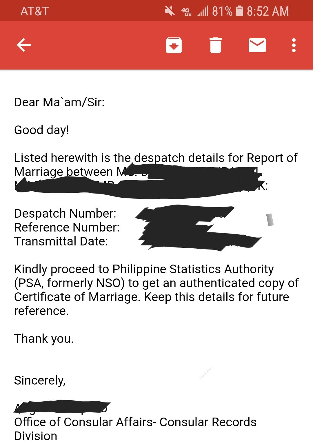 DFA Consular Records Division contact # - Philippines