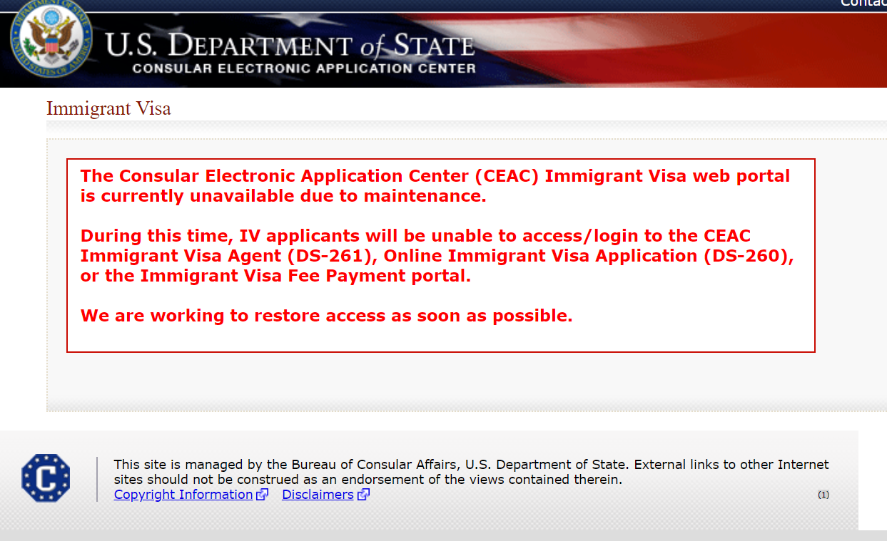 Immigrant Visa Web Portal Unavailable Due To Maintenance National
