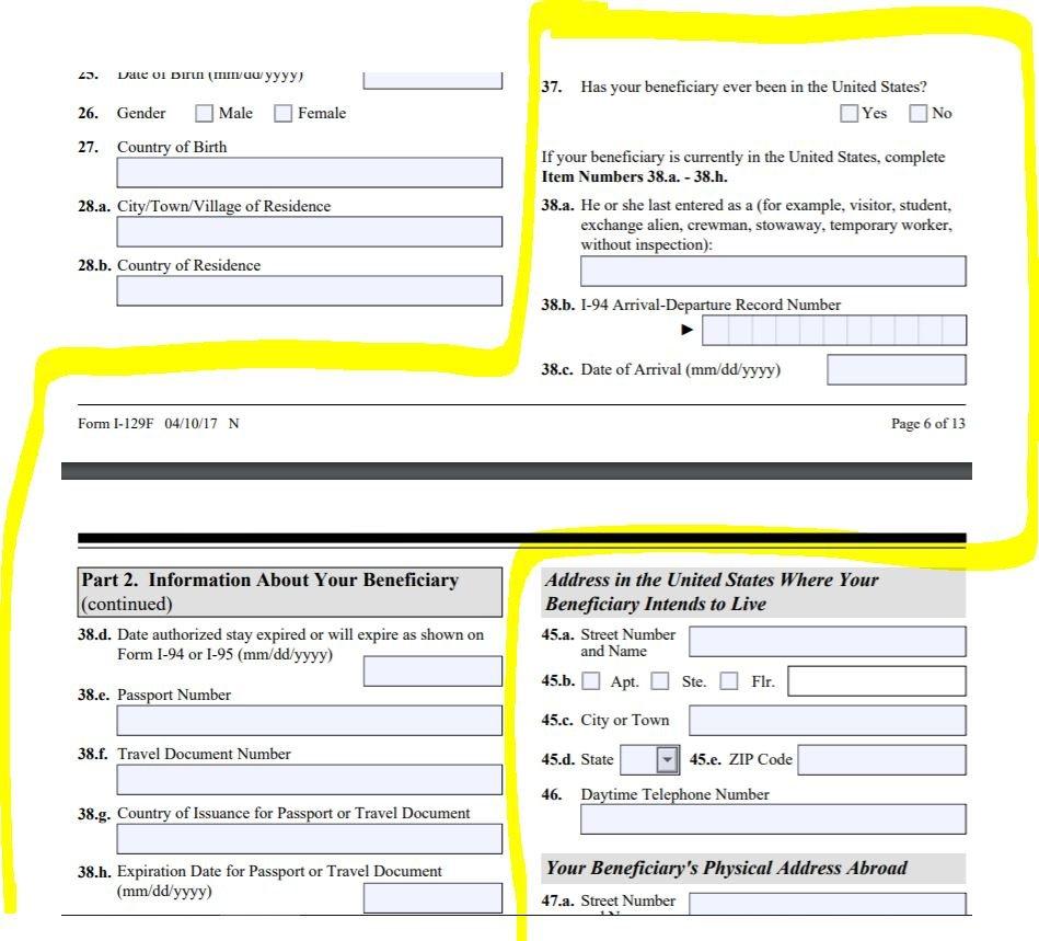 Confusion over section of I-129F regarding I-94 - K-1 Fiance(e) Visa