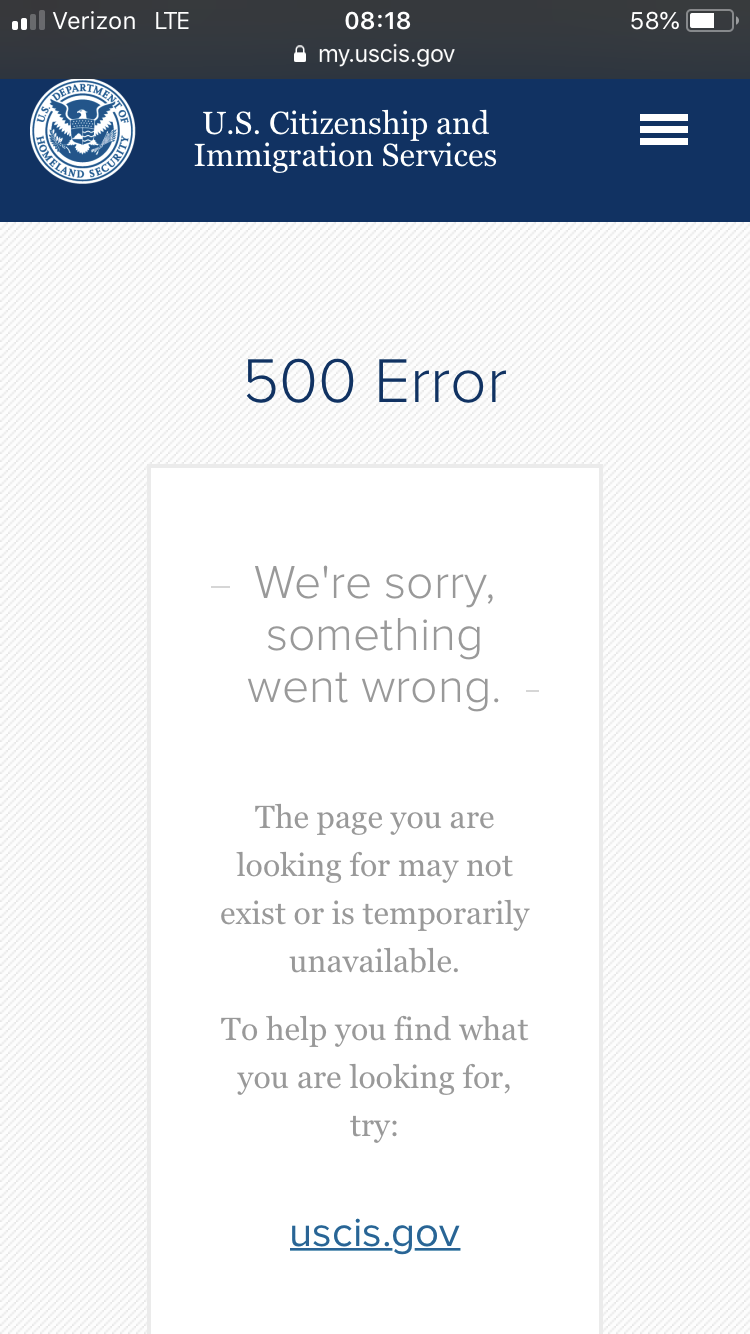 Uscis case status website down