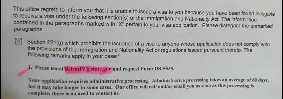 Cr1 Visa Administrative Processing Lebanon - Waivers (I-601 and I