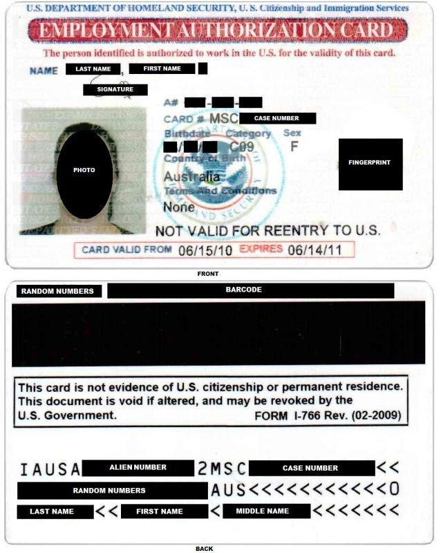 EAD Employment Authorization Document