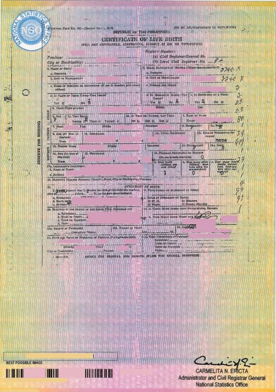 Philippines Normal NSO Birth Certificate