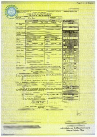 Philippines NSO Marriage Certificate