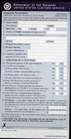 US Customs Form Side 1