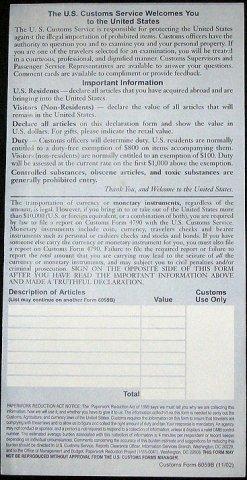 US Customs Form Side 2