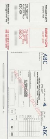Packet 4 London Payment Slip