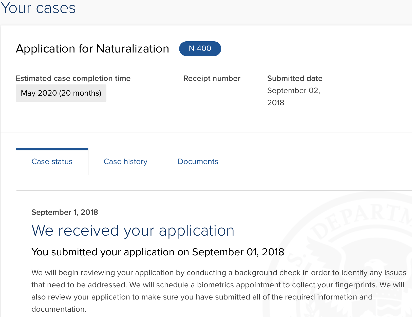 N-400 September 2018 Filers - US Citizenship Case Filing and