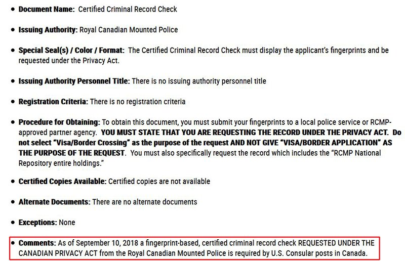 Urgent: New police certificate requirement!!! - Canada