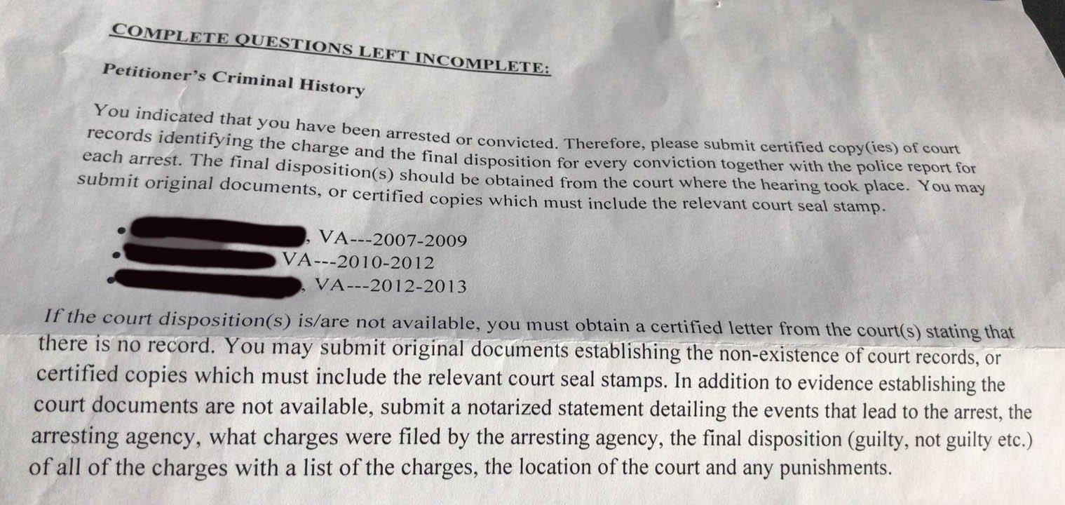RFE - Criminal History - K-1 Fiance(e) Visa Process