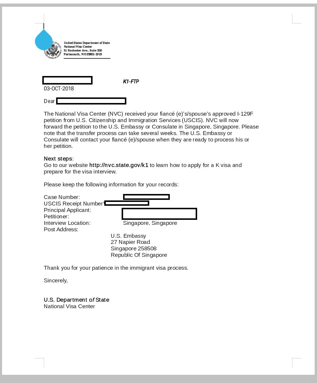 September 2018 NOA2 ----> NVC - Page 59 - K-1 Fiance(e) Visa Case