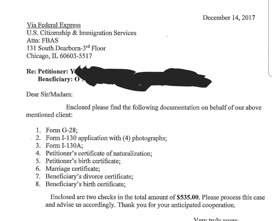 sample of cover letter for form i 130 immigrant petition a