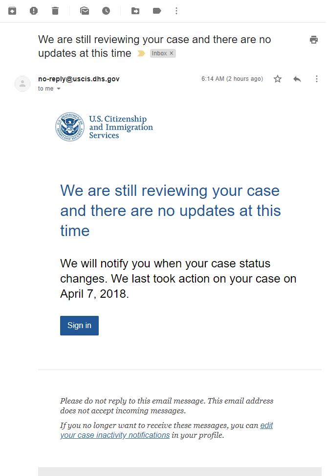 We are still reviewing your case and there are no updates at