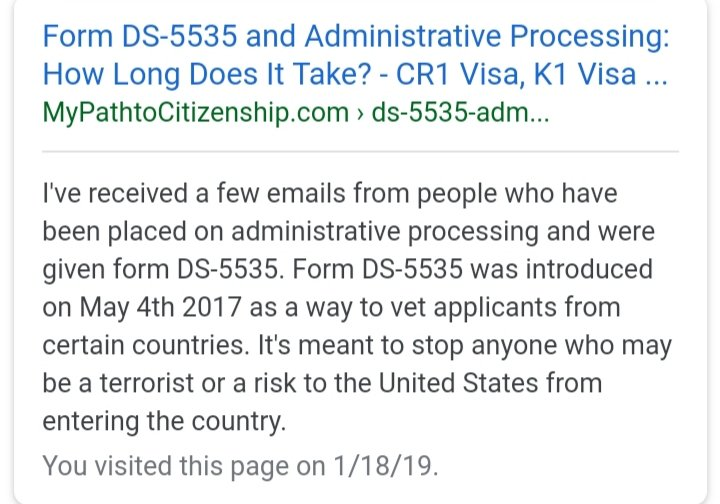 Form DS-5535 'SUPPLEMENTAL QUESTIONS FOR VISA APPLICANTS